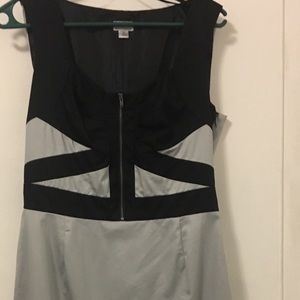 Geometric fitted dress in black & grey